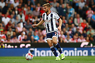 James Morrison of West Bromwich Albion in action. Barclays Premier League match, Stoke city v West Bromwich Albion at the Britannia stadium in Stoke on Trent, Staffs on Saturday 29th August 2015.<br /> pic by Chris Stading, Andrew Orchard sports photography.