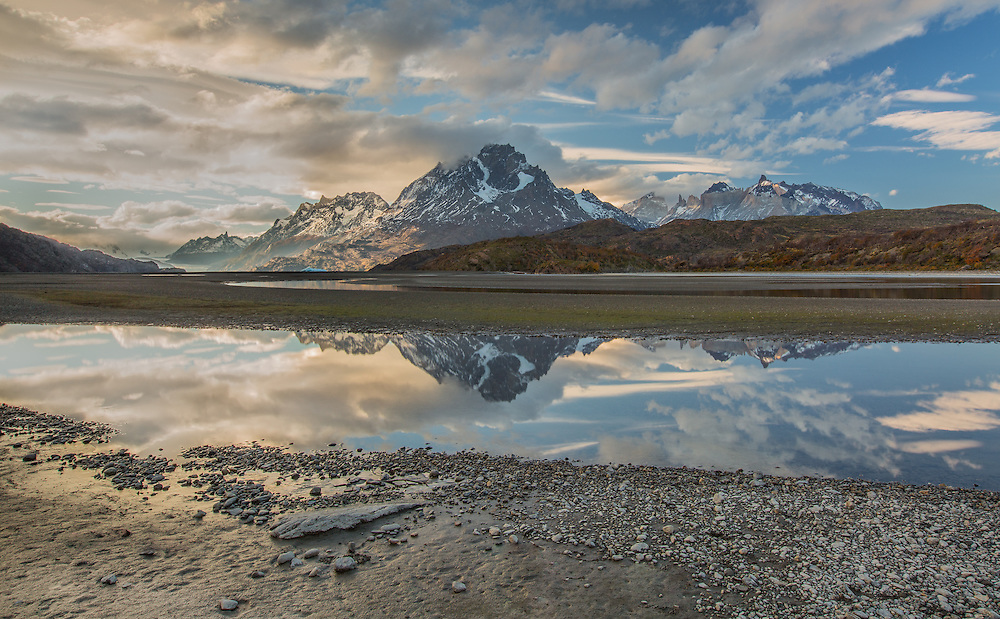 Evening light paints the landscape near Lago Grey in Torres del Paine National Park, Chilean Patagonia.