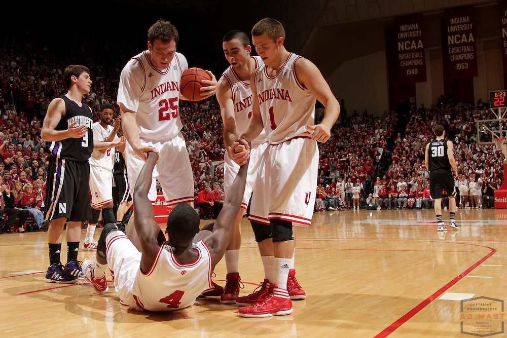 15 February 2012: Indiana Guard Victor Oladipo (4)  as the Indiana Hoosiers played the Northwestern Wildcats in a college basketball game in Blomington, Ind.