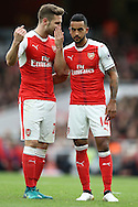 Shkodran Mustafi of Arsenal talking to Theo Walcott of Arsenal (r). Premier league match, Arsenal v Middlesbrough at the Emirates Stadium in London on Saturday 22nd October 2016.<br /> pic by John Patrick Fletcher, Andrew Orchard sports photography.