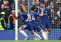 Chelsea's Cesar Azpilicueta (left) celebrates scoring his side's first goal of the game