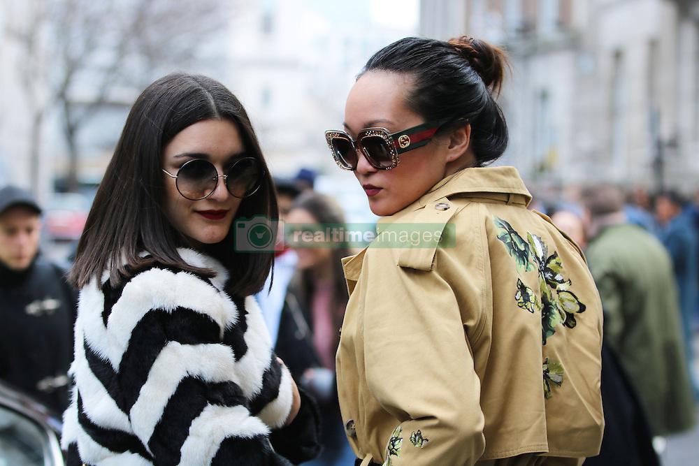 Anisa Sojka and Mariko Kuo arrive at the Julien Macdonald Autumn / Winter 2017 London Fashion Week show at Goldsmiths Hall, London on Saturday February 18, 2017