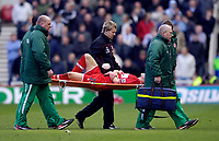 Photo: Jed Wee.<br /> Middlesbrough v Newcastle United. The Barclays Premiership. 09/04/2006.<br /> <br /> Middlesbrough's Andrew Davies is stretchered off the pitch.
