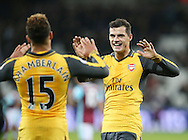 Arsenal's Granit Xhaka celebrates his sides fourth goal during the Premier League match at the London Stadium, London. Picture date December 3rd, 2016 Pic David Klein/Sportimage