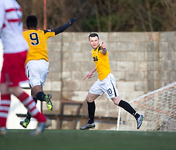 East Fife's Kevin Smith cele scoring their goal. <br /> East Fife 1 v 0 Stirling Albion, Scottish Football League Division Two game played atBayview Stadium, 20/2/2106.