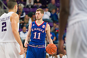 FORT WORTH, TX - FEBRUARY 6: Tyler Self #11 of the Kansas Jayhawks brings the ball up court against the TCU Horned Frogs on February 6, 2016 at the Ed and Rae Schollmaier Arena in Fort Worth, Texas.  (Photo by Cooper Neill/Getty Images) *** Local Caption *** Tyler Self