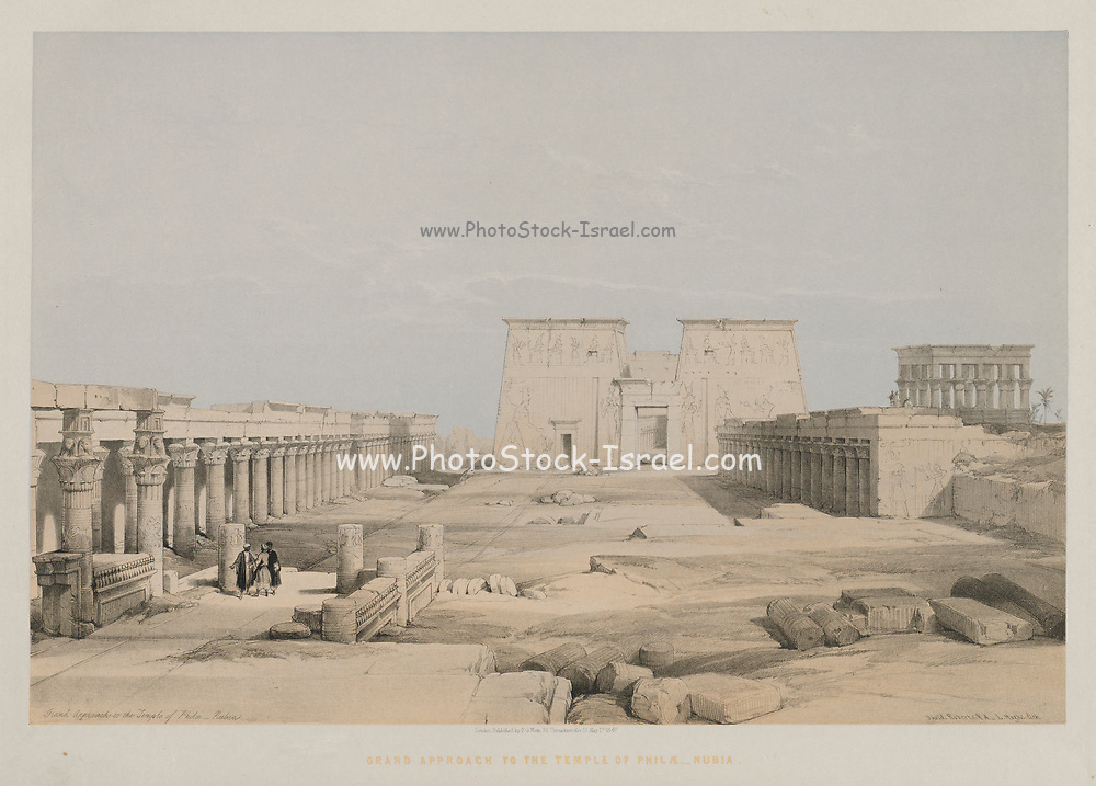 Egypt and Nubia, Volume I: Grand Approach to the Temple of Philae, Nubia, 1847. Louis Haghe (British, 1806-1885), F.G.Moon, 20 Threadneedle Street, London, after David Roberts (British, 1796-1864). Color lithograph