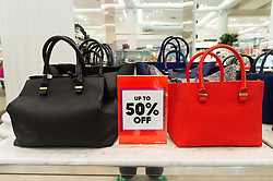 © Licensed to London News Pictures. 26/12/2016. VICTORIA BECKHAM handbags at 50% discount in the Selfridges store in Oxford Street for the start of the stores Boxing Day sales. London, UK. Photo credit: Ray Tang/LNP