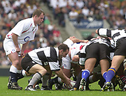 Twickenham. England. RFU Stadium, Surrey. <br /> Photo Peter Spurrier25/05/2003<br /> 2003 - Rugby - England v Barbarians.<br /> mark Robinson puts the ball into the scrum watched by Kyran Bracken         [Mandatory Credit: Peter SPURRIER/Intersport Images]