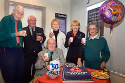 Natwest Bank Gleadless branch 50th Birthday 15th October 2010 ..Customers left to right Lionel Cartwright, Ken warburton, Valerie Hodgson and Margaret Hill Join the branches oldest customer 96 year old Douglas Higgins and  NatWest branch manger Alison Hobson to help celebrate NatWest Gleadless 50th Birthday © Paul David Drabble