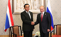 September 5, 2017 - Xiamen, China - September 5, 2017. - China, Xiamen. - Russian President Vladimir Putin meets with Prime Minister of the Kingdom of Thailand Prayut Chan-o-cha (left) on the sidelines of the BRICS summit. (Credit Image: © Russian Look via ZUMA Wire)