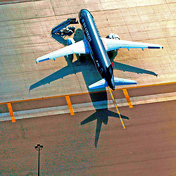Aerial photograph of US Airways Airplane, San Diego Airport