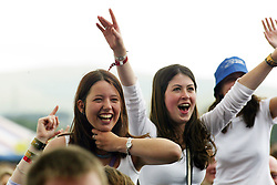 Fans watch The Proclaimers play the main stage on Saturday 12 July, T in the Park 2003..