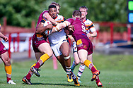 Bradford Bulls prop Jon Magrin (15)?is stopped during the Kingstone Press Championship match between Batley Bulldogs and Bradford Bulls at the Fox's Biscuits Stadium, Batley, United Kingdom on 16 July 2017. Photo by Simon Davies.
