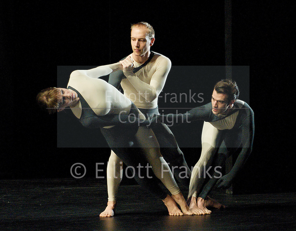 Nearly Ninety<br /> The Merce Cunningham Dance Company <br /> choreography by Merce Cunningham<br /> at The Barbican Theatre, London, Great Britain <br /> rehesrsal <br /> 26th October 2010 <br /> <br /> <br /> John Hinrichs<br /> <br /> Jamie Scott<br /> <br /> Silas Riener<br /> <br /> <br /> Photograph by Elliott Franks<br /> 2010©Elliott Franks