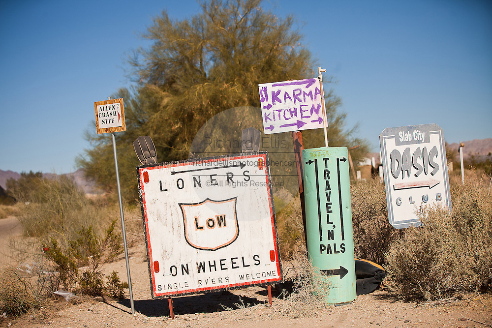 Directional signs in Slab City commune camp Niland, California