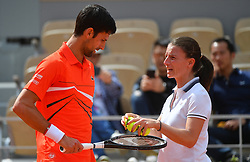 Serbia's Novak Djokovic playing in the first round of the 2019 BNP Paribas Tennis French Open, in the Roland-Garros Stadium, Paris, France, on May 27, 2019.Photo by Christian Liewig/ABACAPRESS.COM