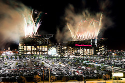 A View of Lincoln Financial Field during fireworks display after the Philadelphia Eagles NFL Flight Night at Lincoln Financial Field in Philadelphia, Pennsylvania on Sunday August 2nd 2009. (Photo by Brian Garfinkel)