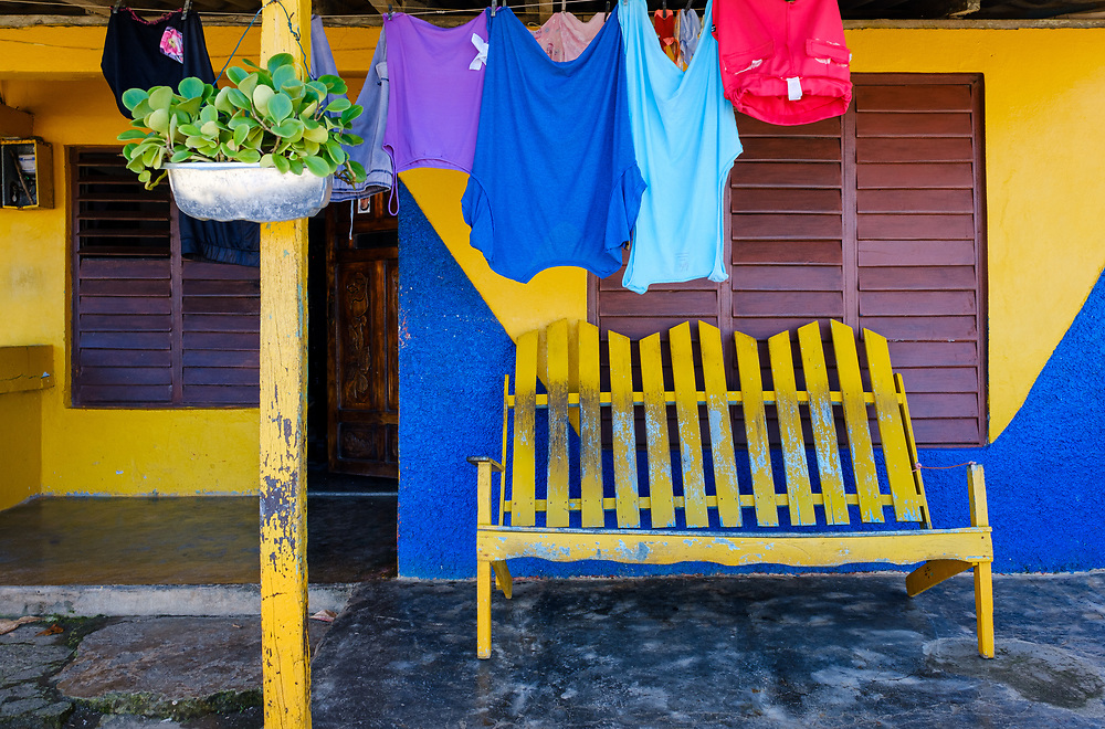 BARACOA, CUBA - CIRCA JANUARY 2020: Porch of a home in Boca de Yumuri, a village close to Baracoa in Cuba.
