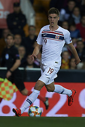 March 23, 2019 - Valencia, Valencia, Spain - Markus Henriksen of Norway controls the ball during the 2020 UEFA European Championships group F qualifying match between Spain and Norway at Estadi de Mestalla on March 23, 2019 in Valencia, Spain. (Credit Image: © Jose Breton/NurPhoto via ZUMA Press)