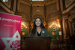 © Licensed to London News Pictures . 22/09/2019. Brighton, UK. Labour Students chair RANYA RAMLI at a fringe event by the Jewish Labour Movement at middle Street Brighton Synagogue, during the second day of the 2019 Labour Party Conference from the Brighton Centre . Photo credit: Joel Goodman/LNP