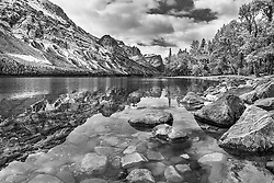 Saint Mary Lake in Glacier National Park, a study in Black and White