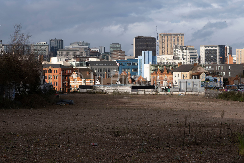 View looking across the empty area of old industrial buildings towards the City Centre on 14th December 2020 in Birmingham, United Kingdom. Birmingham is undergoing a massive transformation called the Big City Plan which involves the controversial regeneration of the city centre as well as a secondary zone reaching out further. The Big City Plan is the most ambitious, far-reaching development project being undertaken in the UK. The aim for Birmingham City Council is to create a world-class city centre by planning for the next 20 years of transformation.