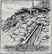 Severn Tunnel (1873-1886) built to carry Great Western Railway under the river.   Outflow channel carrying water pumped from tunnel workings. Engraving.