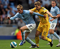 Photo: Paul Thomas.<br /> Manchester City v Derby County. The FA Barclays Premiership. 15/08/2007.<br /> <br /> Goal scorer Michael Johnson (L) of City battles with Andy Todd.