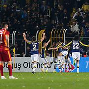 Fenerbahce's players celebrate victory during their Turkish superleague soccer derby Fenerbahce between Galatasaray at the Sukru Saracaoglu stadium in Istanbul Turkey on Sunday 08 March 2015. Photo by Kurtulus YILMAZ/TURKPIX