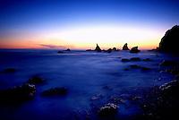 Searocks and ocean in long exposure at Sunset, Lost Coast, California