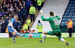 James Hooper of Rochdale fires a shot at goal  - Mandatory byline: Matt McNulty/JMP - 06/12/2015 - Football - Spotland Stadium - Rochdale, England - Rochdale v Bury - FA Cup