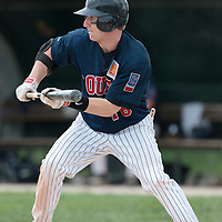 25 April 2010: Aaron Hornostaj of Rouen bunts during game 2/week 3 of the French Elite season won 12-0 by Rouen over the PUC, at the Pershing Stadium in Vincennes, near Paris, France.