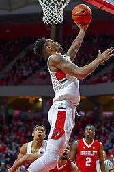 NORMAL, IL - February 16: Phil Fayne puts up a baseline reverse during a college basketball game between the ISU Redbirds and the Bradley Braves on February 16 2019 at Redbird Arena in Normal, IL. (Photo by Alan Look)