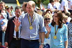 The Duke and Duchess of Cambridge after they coxed a boat each in a competitive race between the twinned town of Cambridge and Heidelberg, Germany.