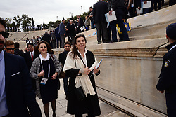 October 31, 2017 - Athens, Attiki, Greece - Lydia Koniordou Greek Minister of Civilisation in Panathenaic Stadium. The Handover Ceremony of the Olympic Flame for Winter Games PYEONGCHANG 2018, took place today in Panathenaic Stadium in the presence of the President of Hellenic Republic Prokopis Pavlopoulos. (Credit Image: © Dimitrios Karvountzis/Pacific Press via ZUMA Wire)