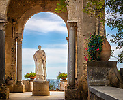 Villa Cimbrone is a historic building in Ravello, on the Amalfi coast of southern Italy. Dating from at least the 11th century AD, it is famous for its scenic belvedere, the Terrazzo dell'lnfinito (the Terrace of Infinity).<br /> <br /> Much altered and extended in the early twentieth century by Ernest William Beckett (later Lord Grimthorpe), the villa is today composed of many salvaged architectural elements from other parts of Italy and elsewhere; little of the original structure remains visible.<br /> <br /> The gardens were redeveloped by Beckett at the same time. The villa is now a hotel, its gardens open to the public.