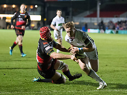 Glasgow Warriors' Brandon Thomson scores his sides first try<br /> <br /> Photographer Simon King/Replay Images<br /> <br /> Guinness PRO14 Round 14 - Dragons v Glasgow Warriors - Friday 9th February 2018 - Rodney Parade - Newport<br /> <br /> World Copyright © Replay Images . All rights reserved. info@replayimages.co.uk - http://replayimages.co.uk