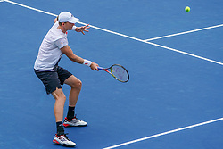 August 15, 2018 - Mason, Ohio, USA - Kevin Anderson (RSA) hits a forehand shot during Wednesday's second round of the Western and Southern Open at the Lindner Family Tennis Center, Mason, Oh. (Credit Image: © Scott Stuart via ZUMA Wire)