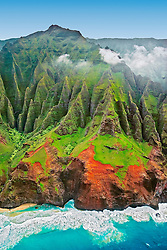 """sheer cliffs of Na Pali coast are sculpted by constant streams of water and rains, producing Kauai's famous """"red dirt"""", Kauai, Hawaii, USA, Pacific Ocean"""