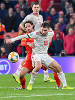 Football - 2019 / 2020 UEFA European Championships Qualifier - Group E: Wales vs. Hungary<br /> <br /> Joe Allen of Wales & Istvan Kovacsof Hungary, at Cardiff City Stadium.<br /> <br /> COLORSPORT/WINSTON BYNORTH