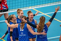 Ana Rekar #11 of Sliedrecht Sport, Maureen van der Woude #9 of Sliedrecht Sport, Christie Wolt #1 of Sliedrecht Sport in action during the supercup semifinal between VC Sneek and Sliedrecht Sport on October, 03 2020 in Van der Knaaphal, Ede