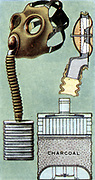 Air Raid Precautions: Set of 50 cards issued by WD & H0 Wills, Britain 1938, in preparation for the anticipated coming of World War II.  Civilian Duty Respirator (gasmask), a stronger model than the normal civilian one, was issued to the police and emergency services.  A telephone or microphone could be used with this model.