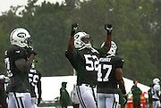 New York Jets linebacker, David Harris, center, pumps his fists towards the sky moments after training camp was suspended due to heavy rain in Cortland, NY, Sunday, July 28, 2013. (Heather Ainsworth for The New York Times)