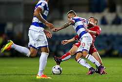 Joe Bryan of Bristol City is challenged by Tjarron Chery of Queens Park Rangers - Rogan Thomson/JMP - 18/10/2016 - FOOTBALL - Loftus Road Stadium - London, England - Queens Park Rangers v Bristol City - Sky Bet EFL Championship.