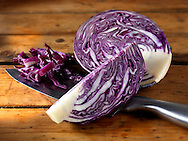 Fresh cut red cabbage