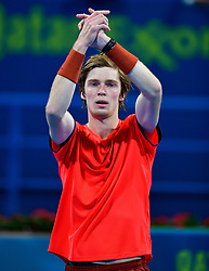 Andrey Rublev of Russia celebrates his win over Andreas Seppi of Italy during their first round of ATP Qatar Open Tennis match at the Khalifa International Te?nnis Complex in Doha, capital of Qatar, on December 31, 2018. Andrey Rublev won 2-0  (Credit Image: © Yangyuanyong/Xinhua via ZUMA Wire)