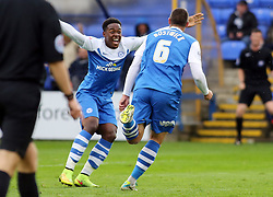 Peterborough United's Michael Bostwick celebrates scoring with Jermaine Anderson - Photo mandatory by-line: Joe Dent/JMP - Mobile: 07966 386802 - 04/10/2014 - SPORT - Football - Peterborough - London Road Stadium - Peterborough United v Oldham Athletic - Sky Bet League One