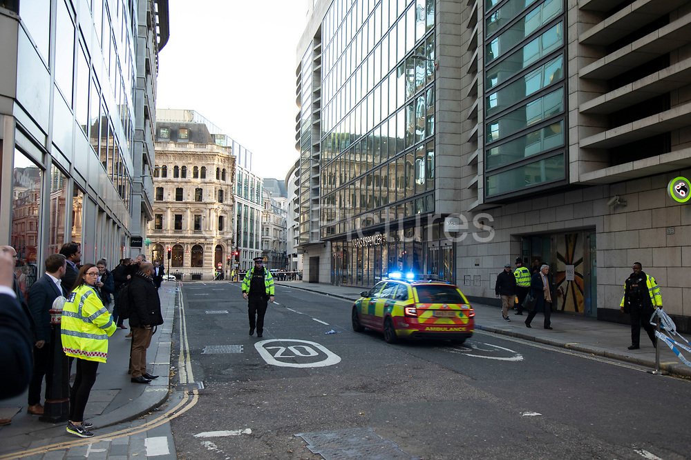 Advanced Trauma Team ambulance arrives as the City of London is locked down by Metropolitan and City Police following what is believed to have been a terror-related incident on London Bridge at around 2pm on 29th November 2019 in London, United Kingdom. Police officers cordoned off the bridge, underpass and all surrounding roads following the incident during which members of the public intervened before shots were fired by armed police. The incident is said to have started as a stabbing during which a number of people were stabbed in a building near London Bridge.