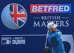 Oliver Farr tees off from the second during day two of the Betfred British Masters at Hillside Golf Club, Southport.